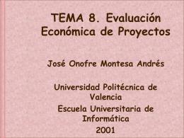 8. Evaluación económica de proyectos.