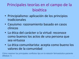 U.1.Principales teorías en el campo de la bioética