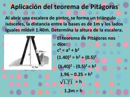 Aplicación del teorema de Pitágoras