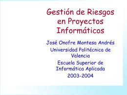 Seguimiento y Control, Riesgos - Universidad Politécnica de Valencia