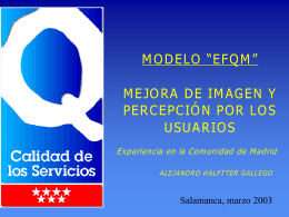 MEJORA DE LA IMAGEN Y PERCEPCIÓN POR LOS USUARIOS