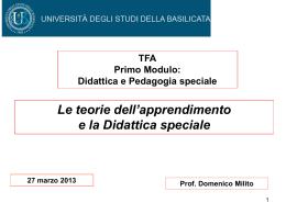 Le teorie dell`apprendimento e la Didattica speciale