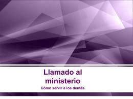 1. Llamado al ministerio