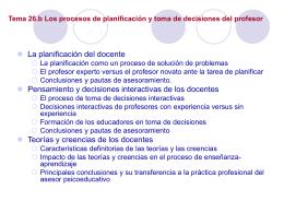 Los procesos de planificación y toma de decisiones del profesor