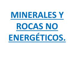 MINERALES Y ROCAS NO ENERGÉTICOS. ÍNDICE