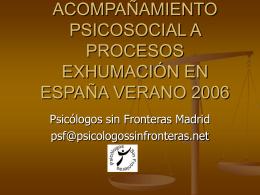 Exhumaciones - Psicología Sin Fronteras