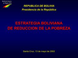 BOLIVIA: DIGNITY PLAN