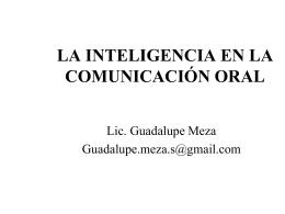 LA INTELIGENCIA EN LA COMUNICACIÓN ORAL