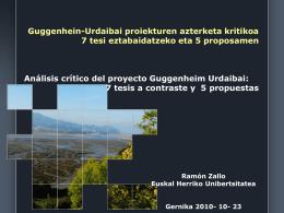 Guggenheim Urdaibai. Tesis a contraste y 5 propuestas. Ramon