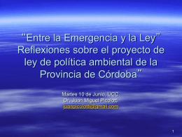 proyecto de ley de policita ambiental de Cordoba