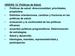 POLÍTICAS DE SALUD - Nuevo Espacio Cs. Medicas