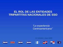 EL ROL DE LAS ENTIDADES TRIPARTITAS NACIONALES