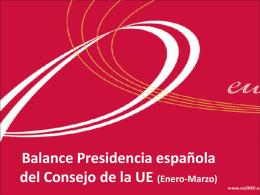 Balance Presidencia española del Consejo de la UE (Enero