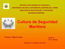 Cultura de Seguridad Marítima – Gleisy Toro