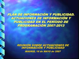 Plan deInformación y publicidad. Actuaciones de información y