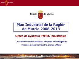 Plan Industrial de la Región de Murcia Inversiones subvencionables