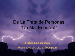 Trafico de Personas - Mission and Culture: The Salvation Army