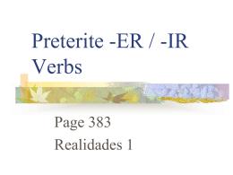 Preterite of -er, -ir verbs