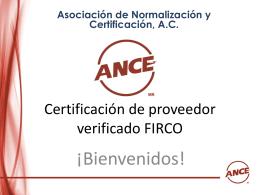Certificación de proveedor verificado FIRCO