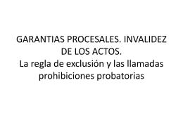 Garantías. Invalidez de los actos procesales penales