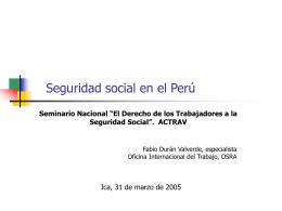 ESSALUD: hallazgos preliminares, consultoría actuarial OIT.