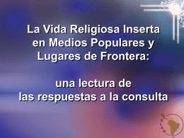 La Vida Religiosa Inserta en Medios Populares