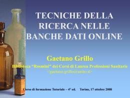 """""""Tecniche della ricerca nelle banche dati online"""" Corso di"""