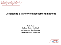 Developing a variety of assessment methods