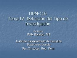 Profesor Rondon Tema 4 Definición Tipo de Investigación