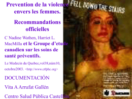 Prevention de la violence envers les femmes.