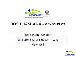 Rosh Hashana - Shalom Haverim Org