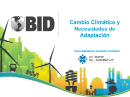 Cambio Climático y Necesidades de Adaptación Panel Adaptación