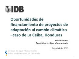 Oportunidades de financiamiento de proyectos de adaptación al