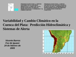 Variabilidad y Cambio Climático en la Cuenca del Río de la