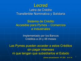Programas Bocred & Lecred