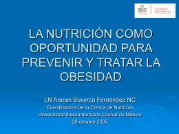 la nutrición como oportunidad para prevenir y tratar la obesidad