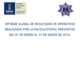 Informe de Actividades de la Dirección de la Policía Estatal