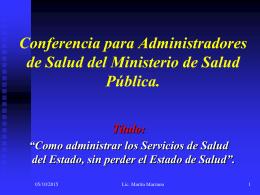 Conferencia para Administradores de Salud