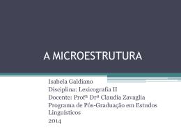 A microestrutura - Claudia Zavaglia