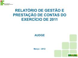 SEMINÁRIO RELATÓRIO DE GESTÃO- EXERCÍCIO