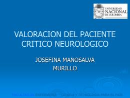 VALORACION DEL PACIENTE CRITICO NEUROLOGICO
