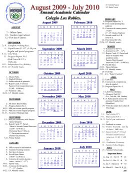 Annual Academic Calendar Colegio Los Robles.