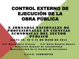 CONTROL EXTERNO DE EJECUCIÓN DE LA OBRA PÚBLICA
