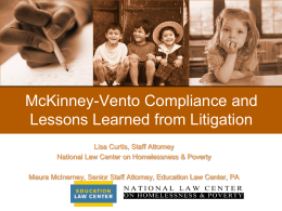 McKinney-Vento Compliance and Lessons Learned from Litigation