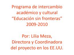 """Programa de intercambio académico y cultural """"Educación sin"""