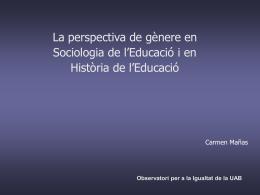 Sexe i gènere - Universitat Autònoma de Barcelona