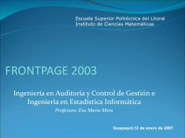 frontpage 2003 - Blog de ESPOL - Escuela Superior Politécnica del