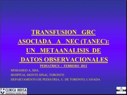 transfusion grc asociada a nec (tanec)