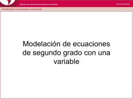 Modelación de ecuaciones de segundo grado