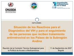 Informe de situación de Reactivos de diagnóstico de VIH y de